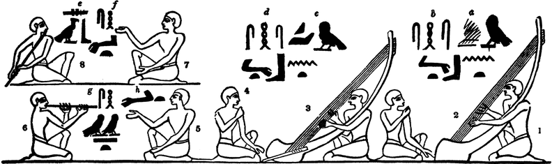 Harps, pipe, and flute, from an ancient tomb near the Pyramids.png