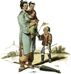A nursery maid and two children