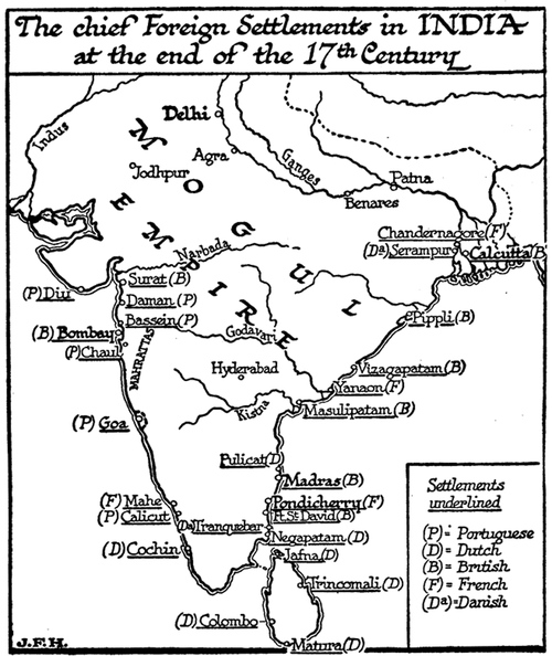 Chief Foreign Settlements in India, 17th Century.png