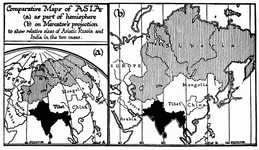 Comparative Maps of Asia under Different Projections