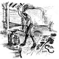 A Jamestown Blacksmith Working In A Forge Shop