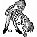 Representation of a man extracting the jewel from a toad's head