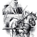 Horse and cart with dog driver