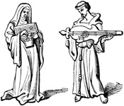 Nun and Friar with Musical Instruments