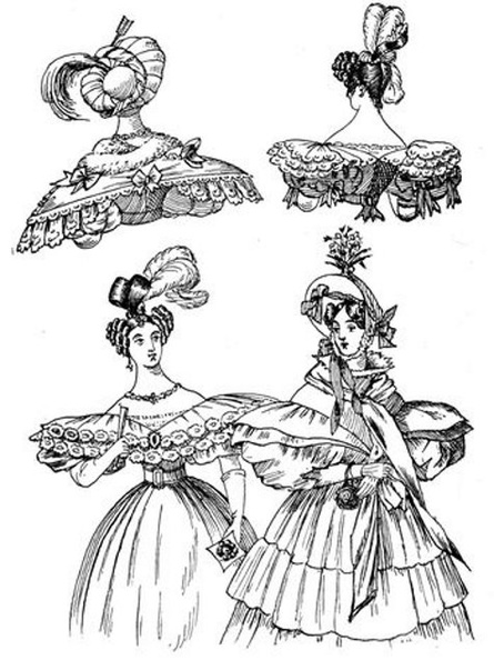 a dinner, two ball, and a walking dress 1832.jpg