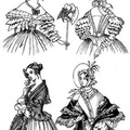 two walking dresses as well as an indoors and evening dress 1836