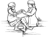 Two Girls unwinding wool