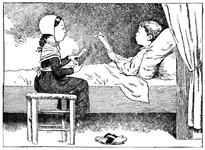 Girl reading to a boy who is in bed