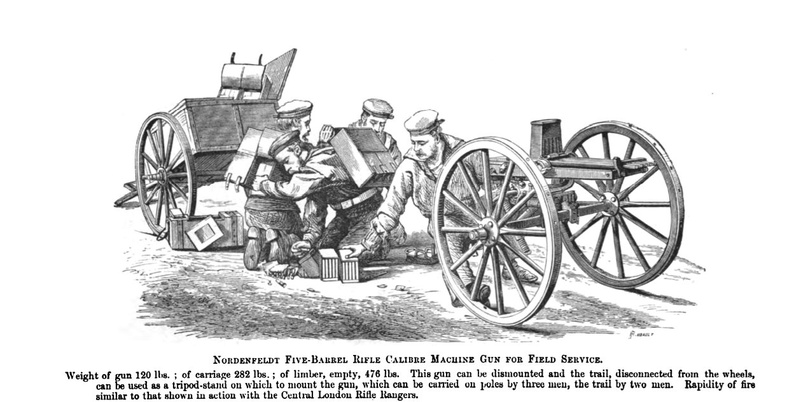 Nordenfeldt Five Barrel Rifle Calibre Machine Gun on field carriage.jpg