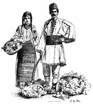 Roumanian Peasants Selling Flowers and Fruit
