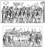 Groups from Titus' triumphal procession over the Jews (Arch of Titus)