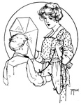 Lady and boy discuss a kite