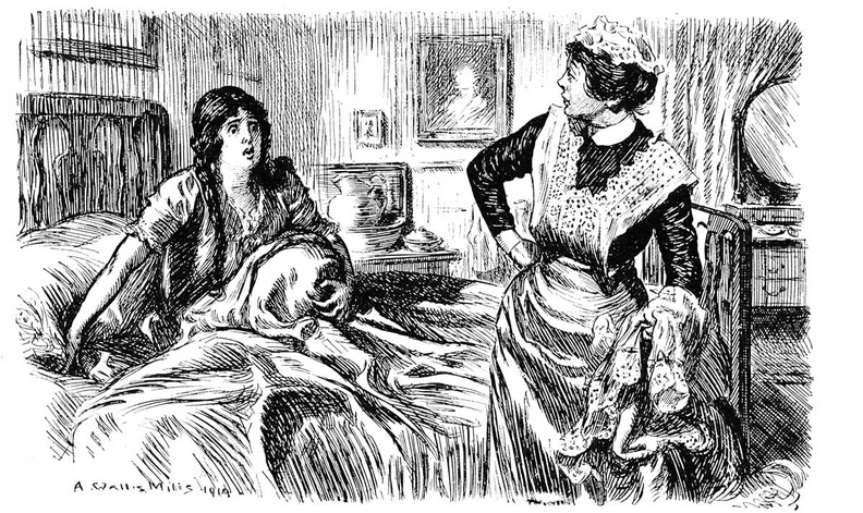 Pertubed woman in bed talking to the maid.jpg