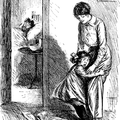 Scared girl clinging to mother outside bedroom with a man in the bed