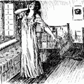 Lady stretching in fron of open window while man looks on from in bed
