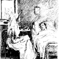 Nurse sitting down beside a patient in bed