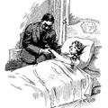 Doctor visiting sick girl in bed