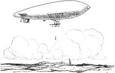 Blimp bombing a submarine