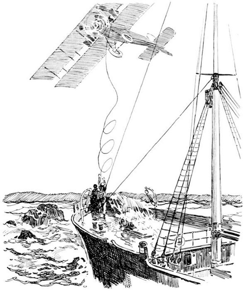 Ship saved by life line thrown from a rescue airship.jpg