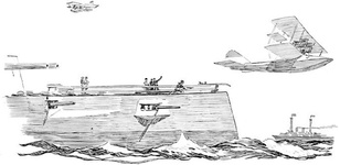 The seaplane shoots off the catapult