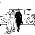 Man and wife about to go away in the bridal car