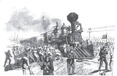 Corning - the construction gang righting overturned cars, under the protection of the militia