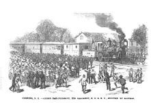 Corning, N.Y. - Second detachment , 23rd Regiment, N.G.S.N.Y. stopped by rioters