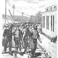 New York - Rioters marching down the New York Central Railroad track at West Albany, July 24, 1877