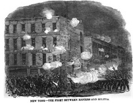 New York - the fight between rioters and militia