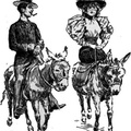 Man and woman riding on donkeys