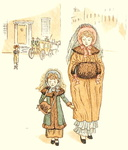 A lady and an unhappy little girl walking along in their winter outfits