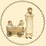 Lady pulling two girls in a wagon
