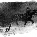 Horse and buggy in a snowstorm