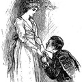 Young man kneeling in front of a woman