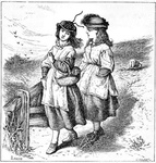 Two girls walking in the country