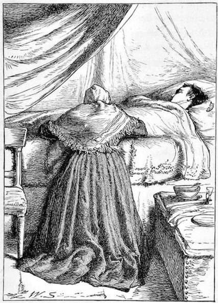 Lady kneeling beside bed with a man in it.jpg