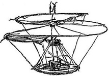 Principle of the helicopter, drawing by Leonardo da Vinci