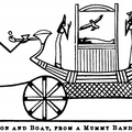 Wagon and Boat, from a mummy bandage