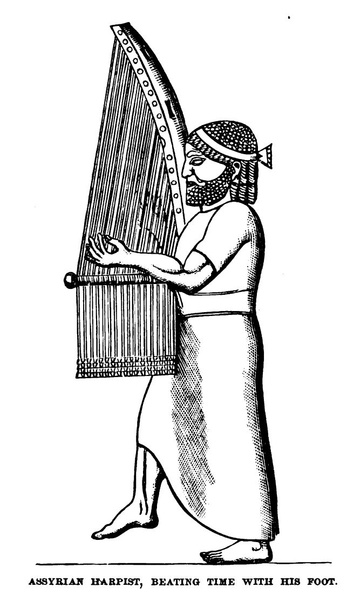 Assyrian Harpist , beating time with his foot.jpg