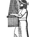 Assyrian Harpist , beating time with his foot