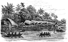 Pile-dwelling Village,  New Guinea
