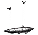 Aeroplanes attacking an airship from above