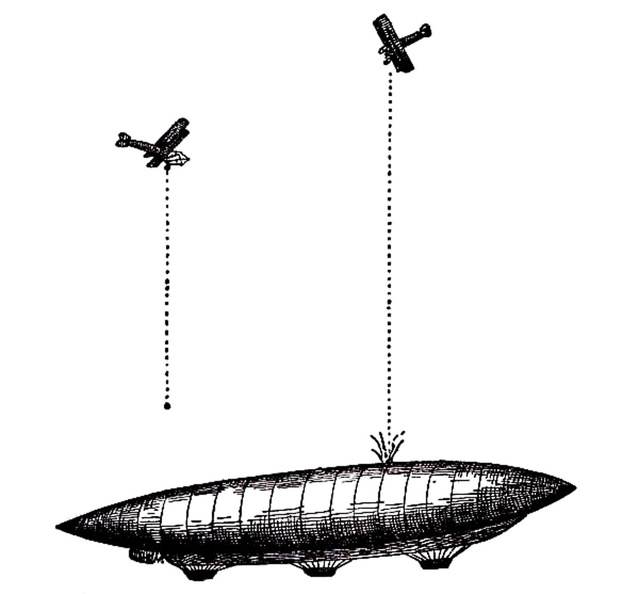 Aeroplanes attacking an airship from above.jpg