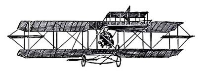 The Curtiss Biplane in flight