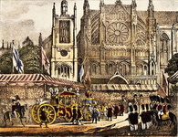 The procession approaching Westminster Abbey