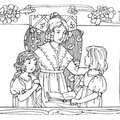 Mother reading to two girls