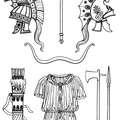 Phrygian helmets, bow, bipennis, quiver, tunic, axe and javelin