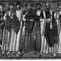 Emperor Justinian and his court - Mosaic of San Vitale, in Ravenna