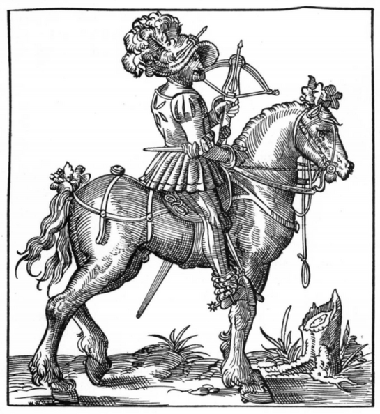 Mounted  Crossbowman, with Cranequin crossbow, and a quarrel in his hat.png