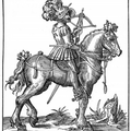 Mounted  Crossbowman, with Cranequin crossbow, and a quarrel in his hat